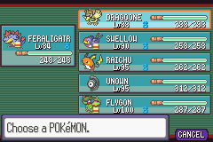 Pokemon Snakewood - Current team - User Screenshot